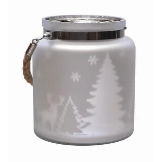 "6"" Matte Silver Winter Scene Decorative Christmas Pillar Candle Holder Lantern with Handle"