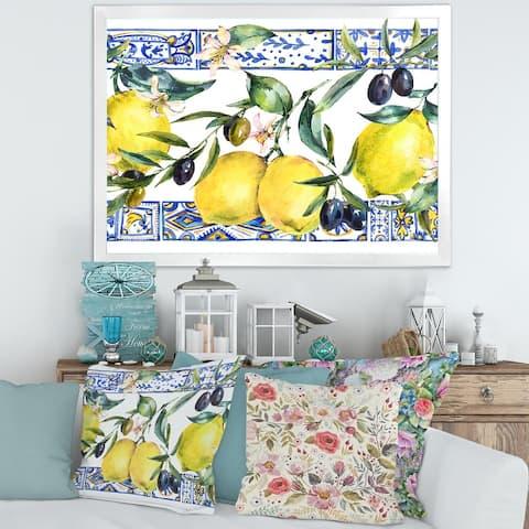 Designart 'Lemon Ornament on Blue Geometrical Pattern II' Tropical Framed Art Print