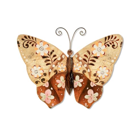 HandmadeBrown Metal and Capiz Floral Butterfly Wall Art , Handmade in Philippines