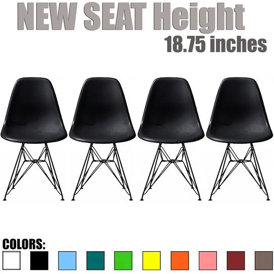 2xhome Modern Side Dining Chair Colors With Dark Black Wire Chrome Legs Base (Set of 4)