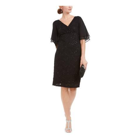CONNECTED APPAREL Black Short Sleeve Knee Length Dress 16