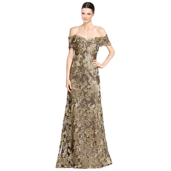 a25823b32486 Shop Rene Ruiz Off Shoulder Embellished Lace Mermaid Evening Gown Dress  Gold Black - Free Shipping Today - Overstock - 15875494
