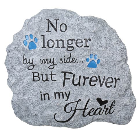 Pawriffic Pet Memorial Garden Stone Headstone Grave Marker Wall Hanging - Furever in My Heart - Paw Print Plaque for Dog or Cat