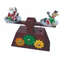"Pack of 2 Musical Santa and Reindeer Scale Gear Table Top Decorations 6.5"" - brown"
