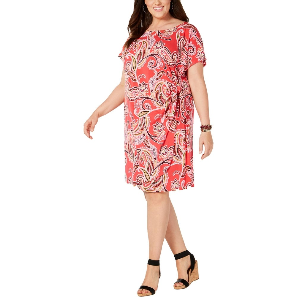 Signature By Robbie Bee Womens Plus Wrap Dress Printed Textured - Coral Multi