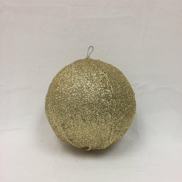 """8"""" Sparkly Light Gold Inflatable Tinsel Ball Commercial Christmas Ornament"""