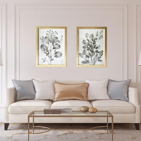 Gallery 57 Silver Branches Set of 2 Framed Art, 16x20 Each