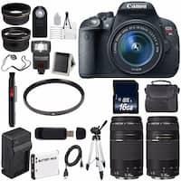 Canon EOS Rebel T5i 18 MP CMOS Digital SLR Camera w/EF-S 18-55mm(International Model) + EF 75-300mm Lens Bundle