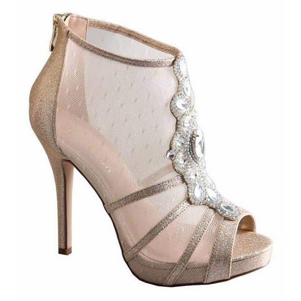 De Blossom Collection Adult Nude Sheer Panel Heeled Bootie