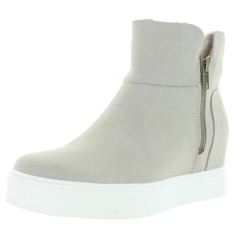 Madeline Womens Yeet Ankle Boots Faux Suede Wedge - Gray - 7 Medium (B,M)