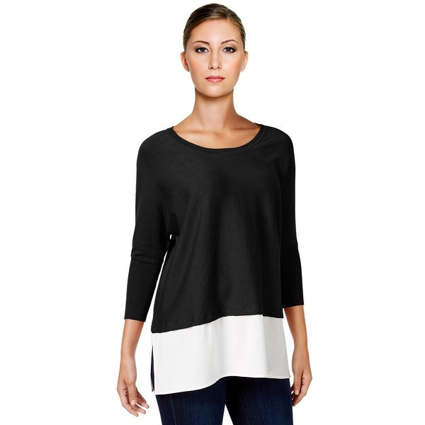 Style & Co Dolman Sleeve Layered Look Sweater Top Deep Black