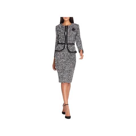 Tahari ASL Womens Skirt Suit Boucle Collarless