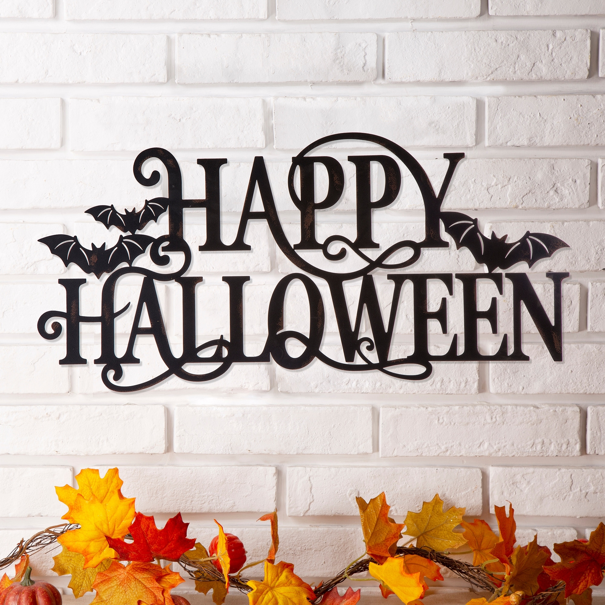 Shop Glitzhome Metal Happy Halloween Wall Sign 24 X 12 On Sale Overstock 28589807