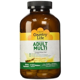 Country Life Adult Multi Vitamin/Mineral Formula - 120 Wafers | Includes Coenzyme B-Vitamins | Pineapple Orange Flavor