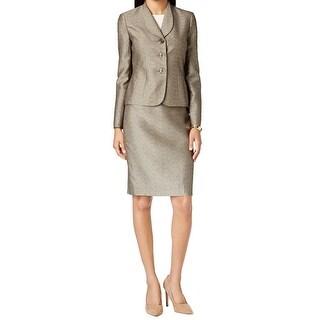 Le Suit NEW Gold Women's Size 8 Jacquard 3-Button Skirt Suit Set