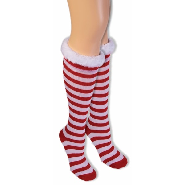 Women's Adult Christmas Socks Candy Cane - Red