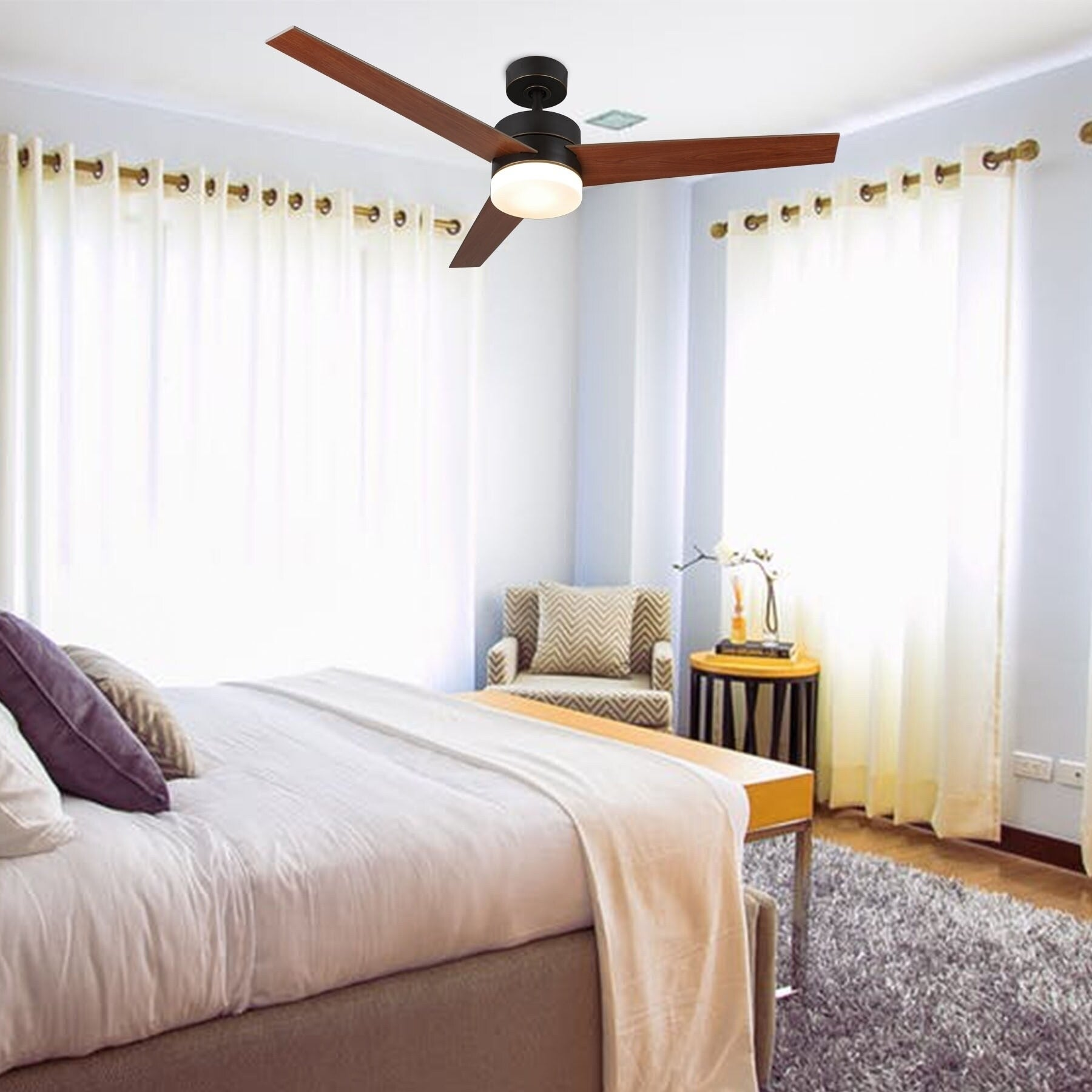 Shop Black Friday Deals On Co Z 52 3 Blade Modern Led Ceiling Fan With Light Kit And Remote Control Overstock 28358399