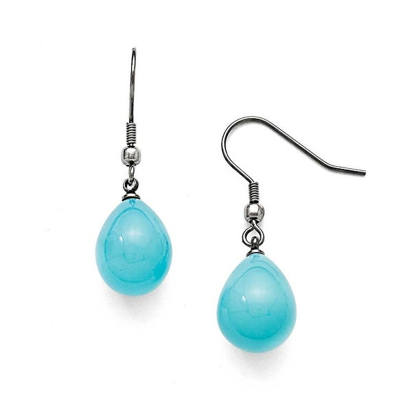 Chisel Stainless Steel Blue Shell Pearl Polished Dangle Earrings