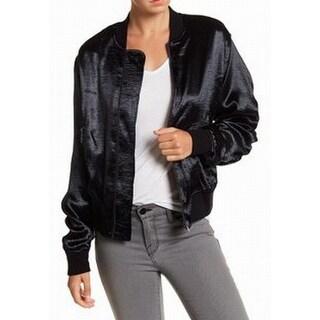 Ro & De NEW Black Womens Size Large L Full-Zipper Satin Bomber Jacket