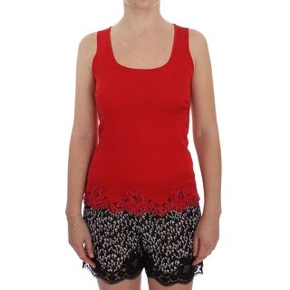 Dolce & Gabbana Red Silk Stretch Camisole Lingerie Blouse