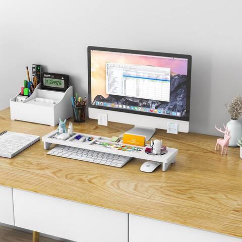 Home Office Wood Desk Storage Desktop Organizer White Color