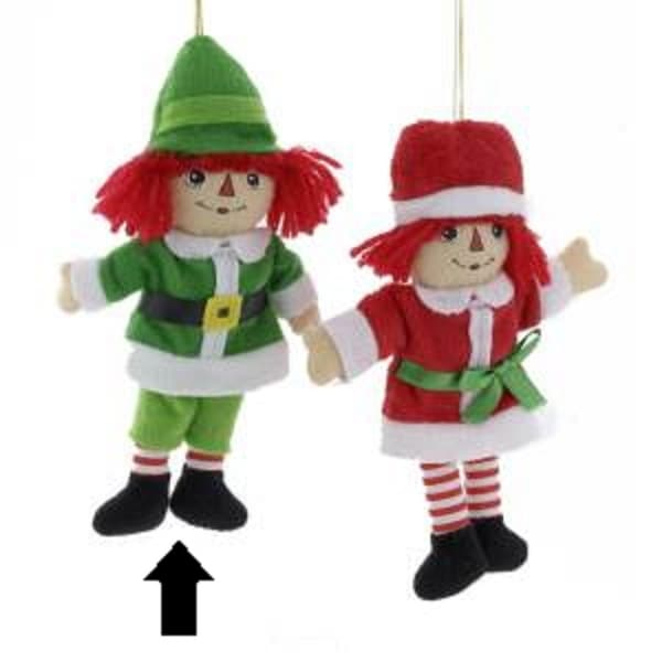 """7.75"""" Raggedy Andy in Elf Costume Miniature Plush Christmas Ornament - green"""