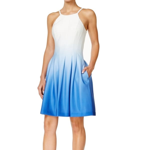 088b2434ee9 Shop Calvin Klein New White Blue Womens Size 12 Ombre Pleated Sheath
