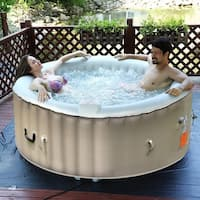 Goplus Portable Inflatable Bubble Massage Spa Hot Tub 4 Person Relaxing Outdoor