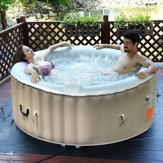 Goplus Portable Inflatable Bubble Massage Spa Hot Tub 4 Person Relaxing Outdoor - White