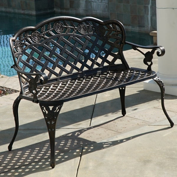 Belleze Outdoor Aluminum Cast Garden Bench Backyard Antique Patio Porch  Furniture, Bronze - Shop Belleze Outdoor Aluminum Cast Garden Bench Backyard Antique