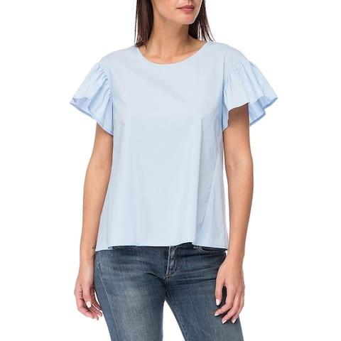 Bobeau Womens Casual Top Poplin Ruffed Sleeves