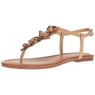 Jessica Simpson Womens Kiandra Leather Open Toe Casual T-Strap Sandals
