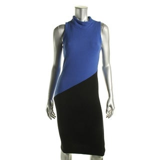 Red Haute Womens Half N Half Textured Colorblock Wear to Work Dress