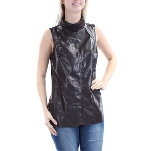 ALFANI Womens Brown Sleeveless Turtle Neck Top Size: S