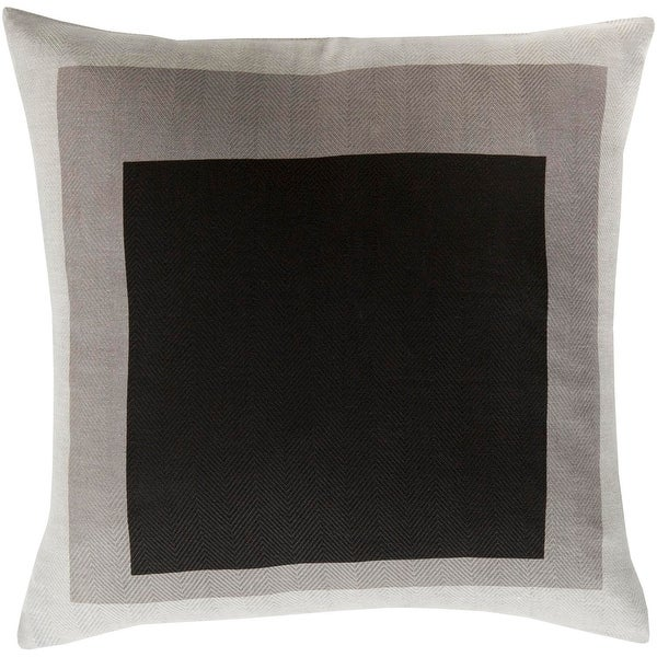 """18"""" Black and Brown Block Patterned Woven Indoor Square Throw Pillow"""