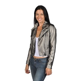 Blank NYC Womens Chrome Faux Leather Jacket