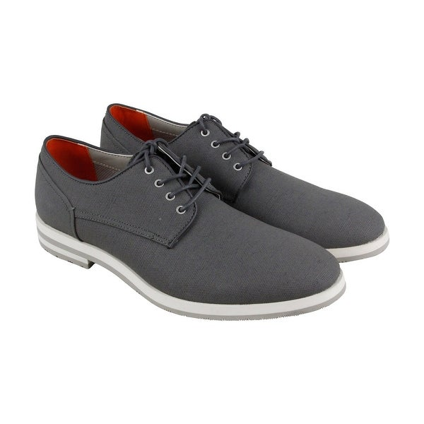 Calvin Klein Adrian Mens Gray Canvas Casual Dress Lace Up Oxfords Shoes