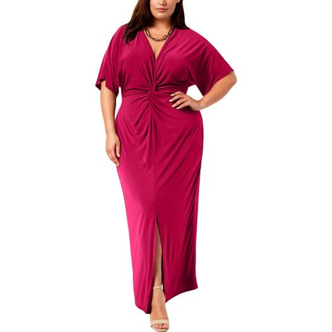 Love Squared Womens Plus Maxi Dress Knot Front Short Sleeves