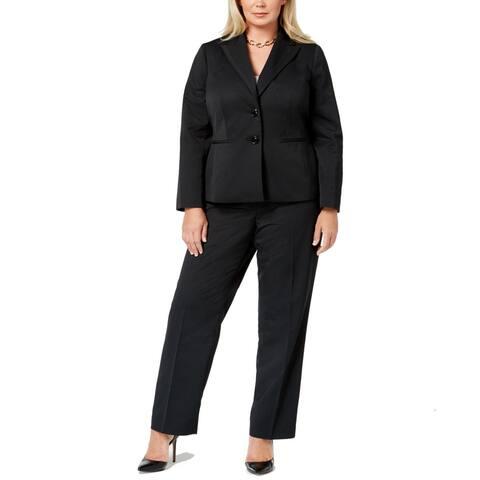 Le Suit Women's Pant Suit True Classic Black Size 20W Plus Striped