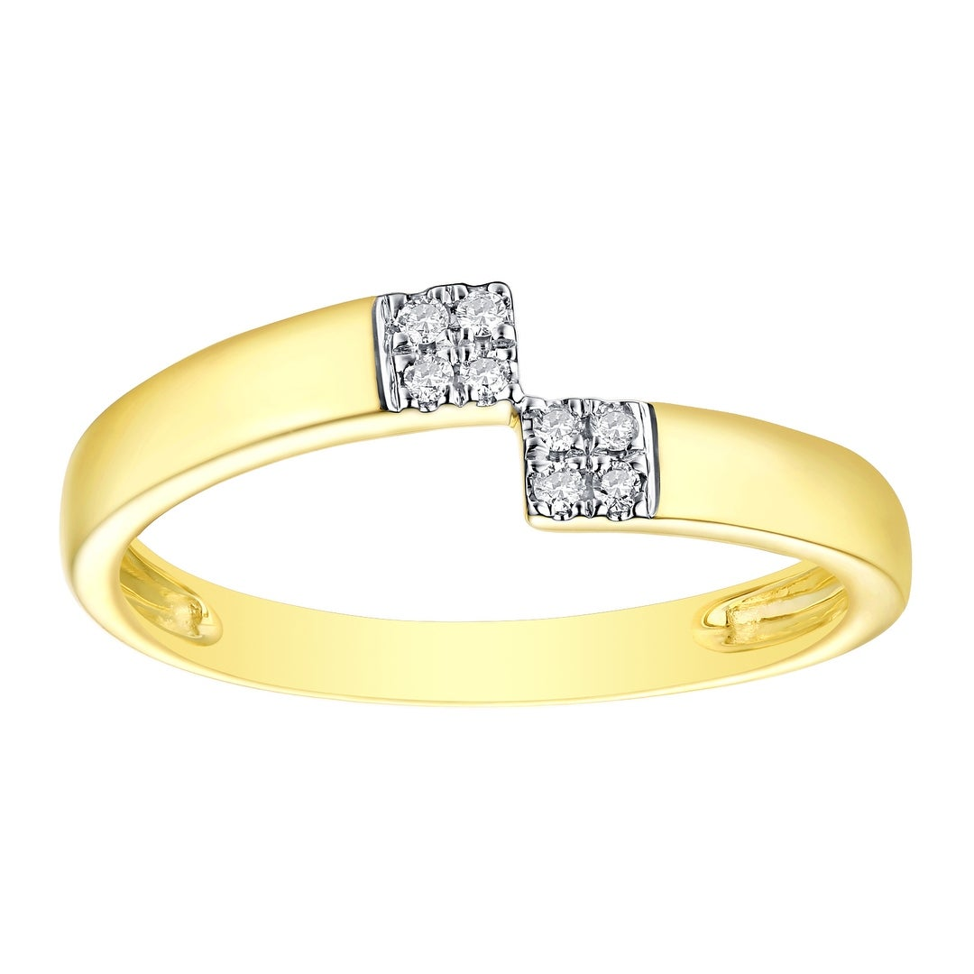 Prism Jewel 0.13CT G-H//SI1-I1 Natural Diamond Light Weight 3-Row Fancy Ring