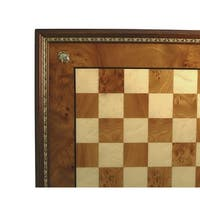 Elm Wood Chess Board With Gold Trim - brown