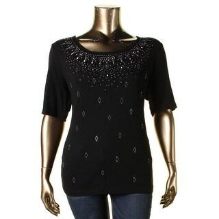 Karen Scott Womens Plus Casual Top Cotton Embellished
