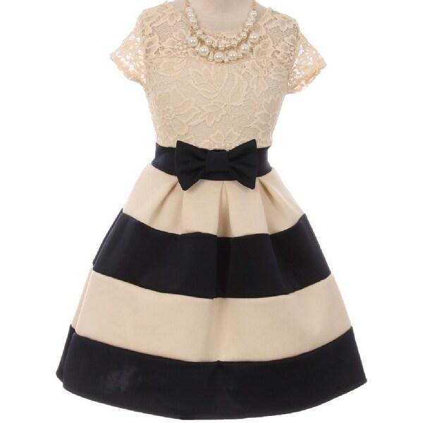 Flower Girl Dress Stripe Pattern Lace Bodice with Necklace Navy JKS 2016