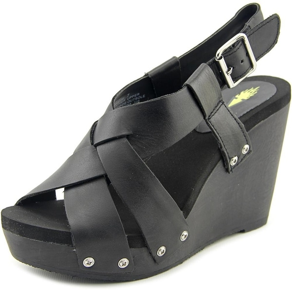 Volatile Contemp Women Open Toe Leather Black Wedge Sandal