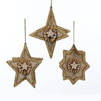 Pack of 6 Gold Glittered Stars with Beaded Outline Decorative Christmas Ornaments
