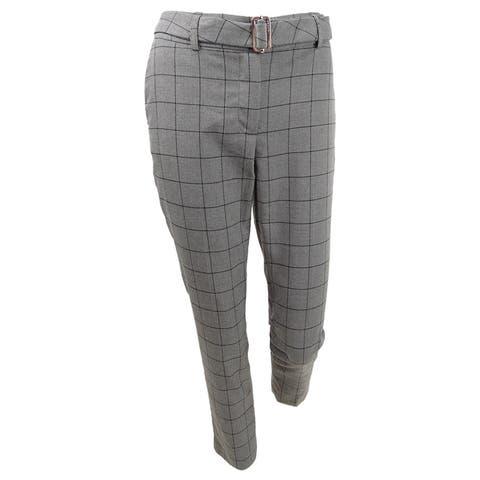 Calvin Klein Women's Windowpane-Print Belted Pants