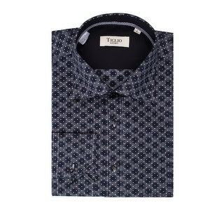 Gray with Big Navy Blue and Small White Polka Dots Modern Fit Sport Shirt by Tiglio Sport