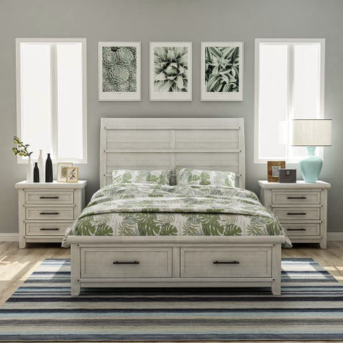 Furniture of America Tiwo White 3-piece Bedroom Set with 2 Nightstands