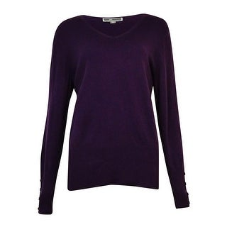 JM Collection Women's V-Neck Button-Sleeves Sweater (Option: lilac frost - l)