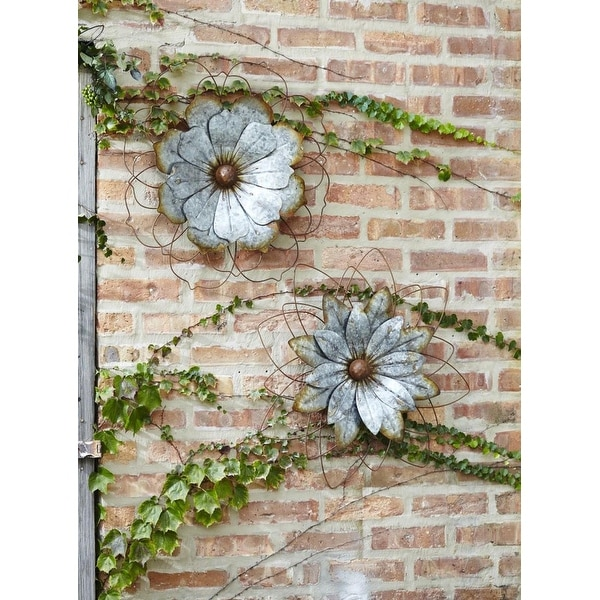 Shop Set Of 2 Silver Assorted Distressed Finish Metallic Artificial